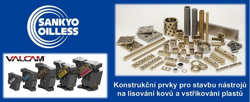 SANKYO Oilless Industry - klínové jednotky, vodící pouzdra, kluzné desky - fotografie 1/4