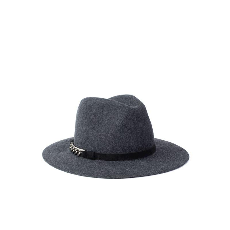 Unisex klobouk melírovaný šedý zdobený