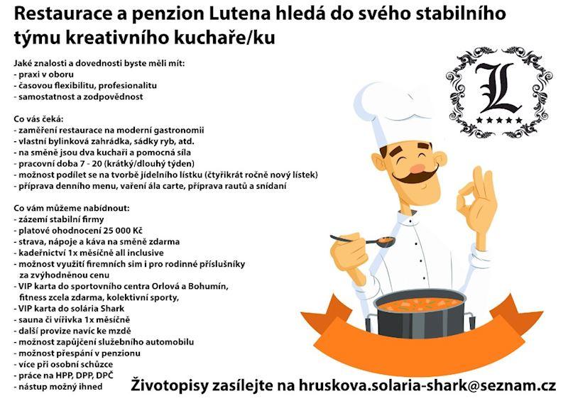 Kuchař pro restauraci a penzion Lutena