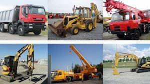 Autojeřáby, nákladní autodoprava, stroje na zemní práce