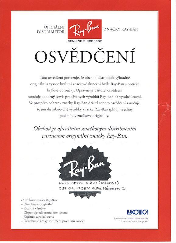 Certifikovaný prodejce značky Ray-Ban
