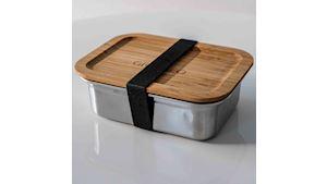 Nerezová krabička na jídlo GREENEO s těsněním | 1200 ml | Černý pásek