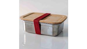Nerezová krabička na jídlo GREENEO s těsněním | 1200 ml | Vínový pásek