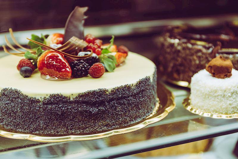 Mskový dort z vitríny