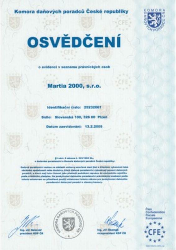 Osvědčení o členství firmy v KDP ČR