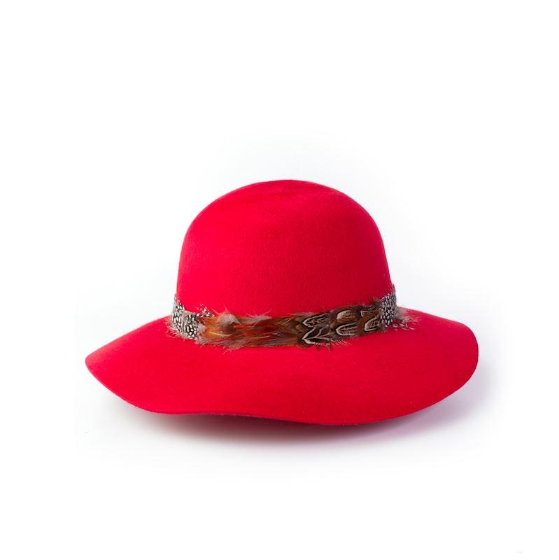 Vlněný červený klobouk dámský