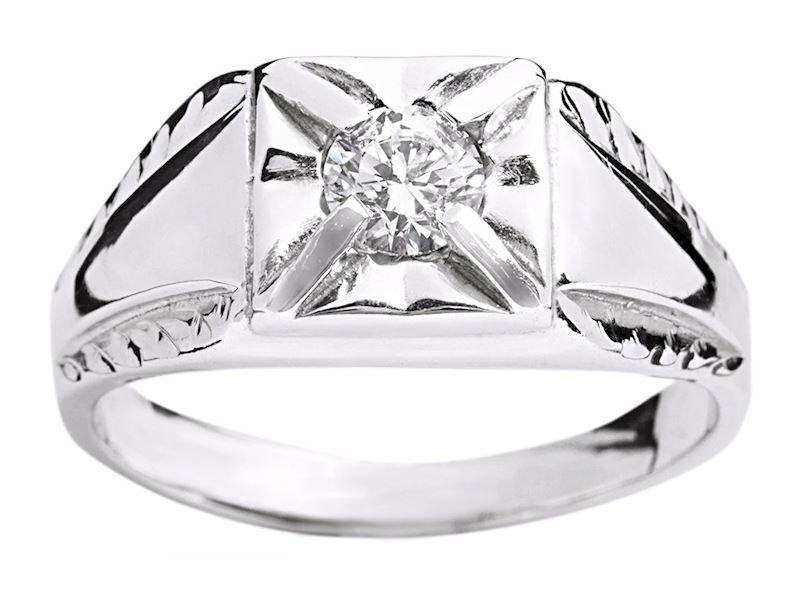 Pánský prsten z bílého zlata s kubickým zirkonem.