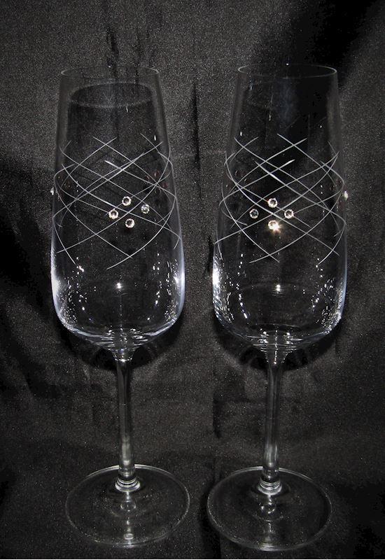 sklenice  na šampus s krystaly Swarovski