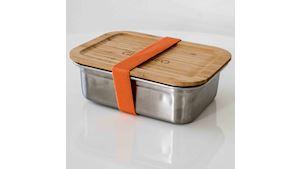 Nerezová krabička na jídlo GREENEO s těsněním | 1200 ml | Oranžový pásek